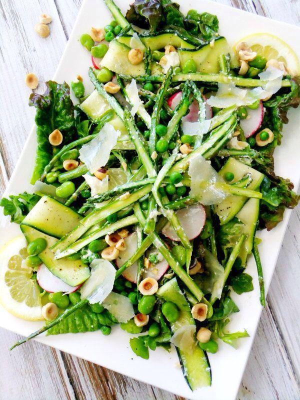 Spring Salad w/Lemon Herb Vinaigrette (zucchini ribbons, red leaf lettuce, sliced radishes, shaved asparagus spears, peas, fava beans, hazelnuts, lemon wedges and Parmesan shavings for garnish)