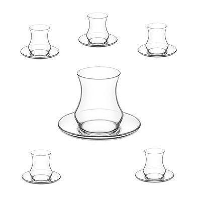 Eda Teeglas 12-tlg. Cay Bardagi Set Türkische Teegläser Teetasse Modern