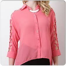 Resultado de imagen para blusas de chifon con botones atras