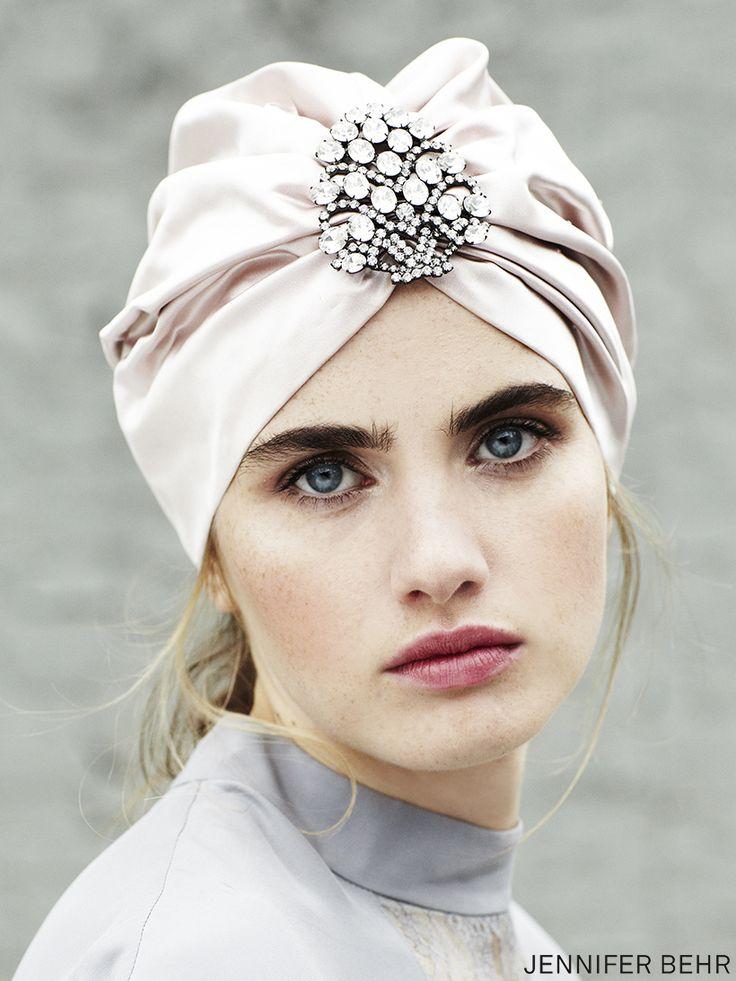 Silk turban by Jennifer Behr, available at www.jenniferbehr.com