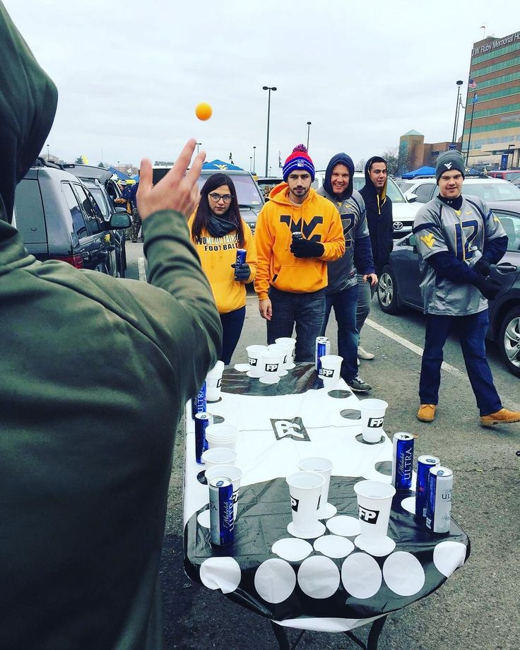 #WVU #Mountaineers fans playing a good game of beer pong outside their home stadium! Thanks @theflippongcover!  #SuperTailgate #tailgate #tailgating #win #letsgo #gameday #travel #adventure #stadium #party #sport #ESPN #jersey #sports #league #SportsNews #score #photooftheday #love #football #NCAAF # CollegeFootball