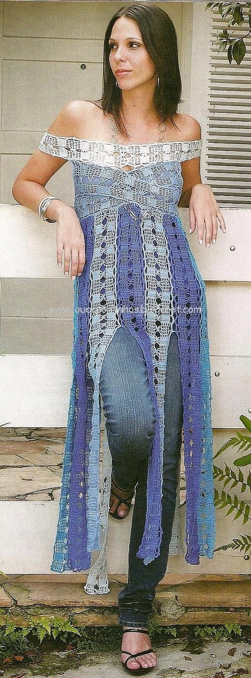 love this long crocheted vertical crocheted top design.... with jeans looks awesome !  Usei este modelo para fazer um vestido