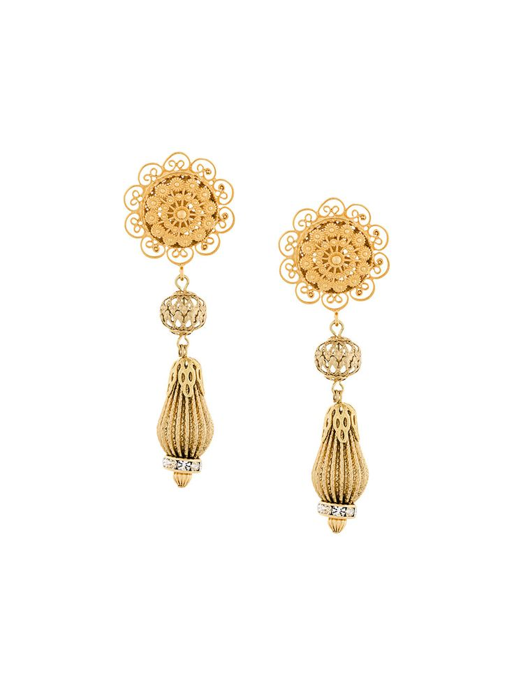 Dolce & Gabbana filigree drop clip-on earrings