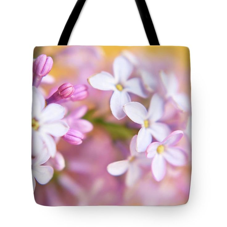 Lilac On Yellow Tote Bag by Marfffa Art.  The tote bag is machine washable, available in three different sizes, and includes a black strap for easy carrying on your shoulder.  All totes are available for worldwide shipping and include a money-back guarantee.