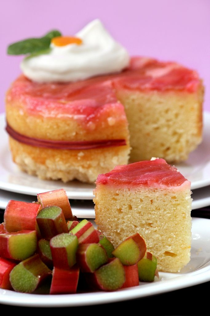 Rhubarb Upside-Down Cake - Now I have a recipe to use the rhubarb from the garden this year.
