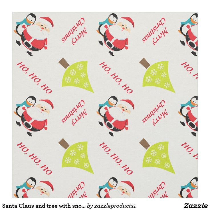 Santa Claus and tree with snowflakes Christmas Fabric