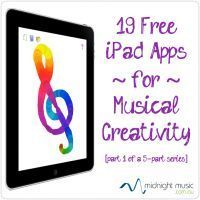 19 Free iPad Apps For Musical Creativity [Part 1 in a series of 5 posts] http://www.midnightmusic.com.au/2013/03/free-ipad-music-apps-for-teachers-part-1/