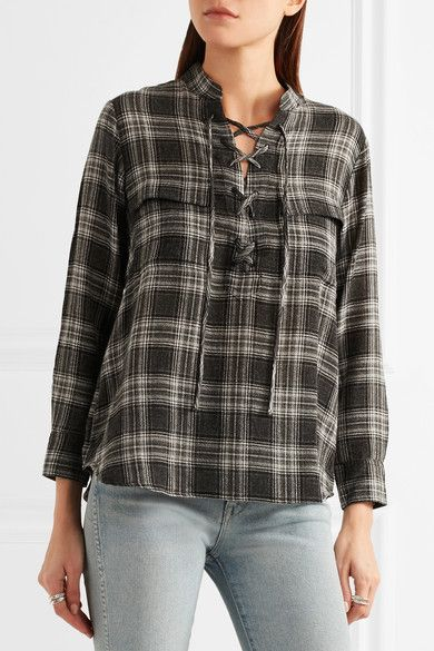 Madewell - Terrace Lace-up Plaid Flannel Shirt - Anthracite - x small