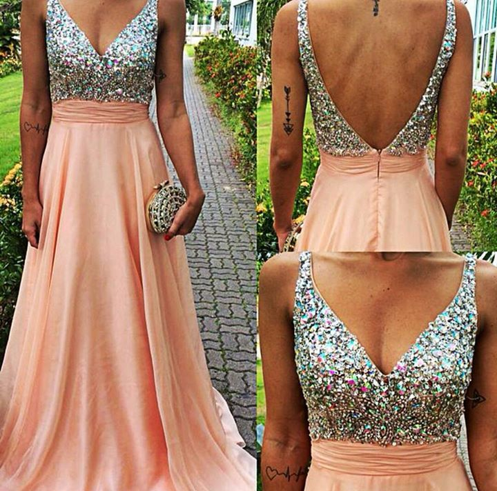 A-line v-neck spaghetti strap long chiffon skirt formal dresses crystal beaded prom