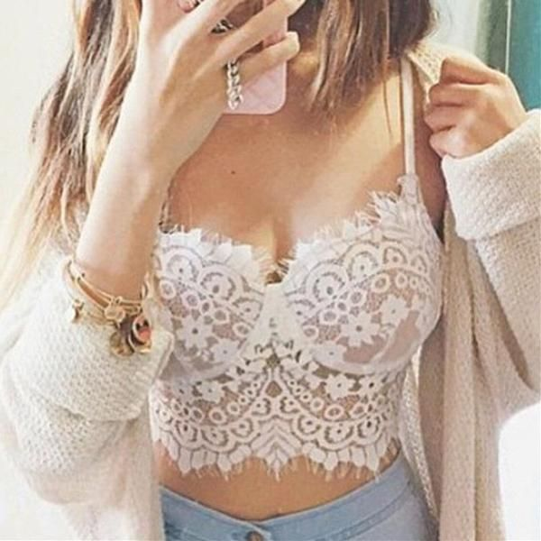 The perfect little lace bustier bra for any boho gypsy princess! With underwire cups and minimal padding, you can show it off or keep it secret. Comes in colors BLACK and WHITE and sizes S-M-L-XL-XXL-