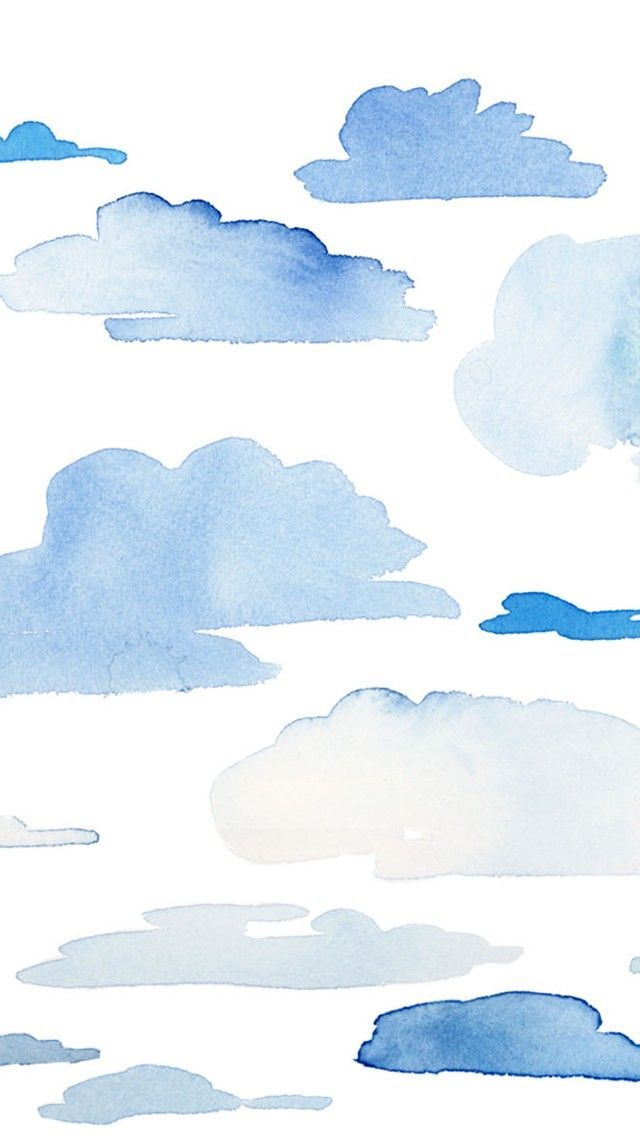 Blue Clouds. Tap to see more iPhone Wallpapers for Summer To Brighten Up Your Phone! Watercolor pattern background. - @mobile9