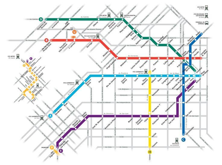 Il sistema sotterraneo della città di Buenos Aires, anche detto Subte, consiste in 6 linee che costribuiscono anche a formare un sistema di trasporto leggero su rotaia con due diramazioni, la Premetro. #subte
