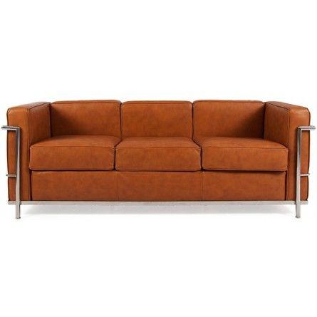 Le Corbusier LC2 Three Seat Sofa - Tan Brown