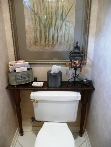 Small custom Table behind toilet traditional side tables and accent tables