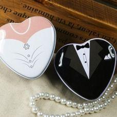 [€ 5.06] Braut u. Bräutigam Herzförmige Zugunsten Zinn (Satz von 6 Paaren) (050013405)