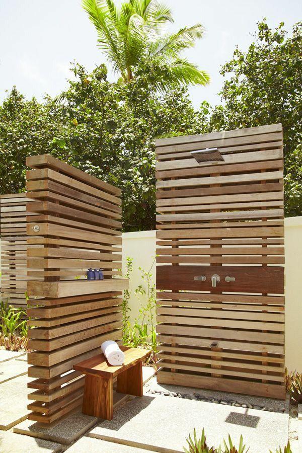 outdoor shower summer bathroom wooden panels wall