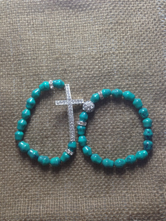 Turquoise Blue Sideways Cross Bracelet Set by AroundMyWrist, $20.00