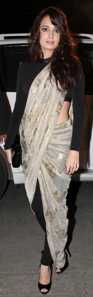 dia mirza in gold and black fancy pant style saree