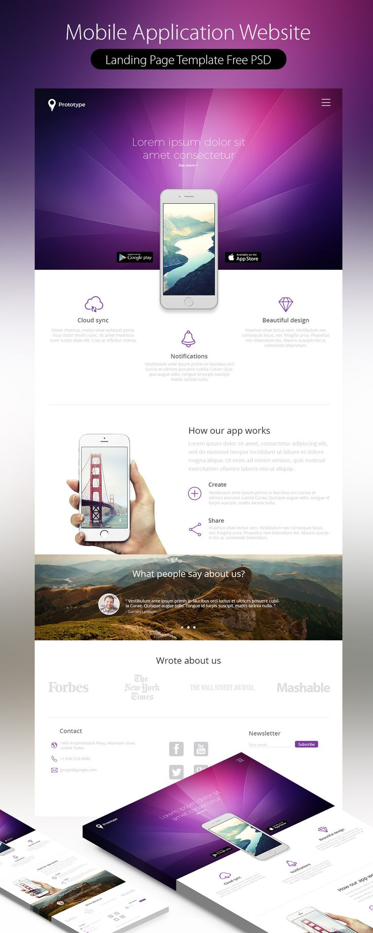 Mobile Application Landing Page Template Free PSD
