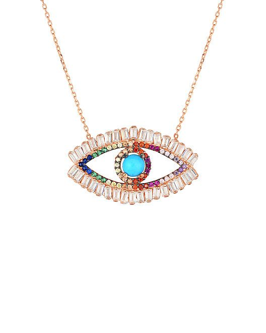 fabf5b0bd9ad0 Sphera Milano 18K Rose Gold Over Silver CZ Open Evil Eye Necklace ...