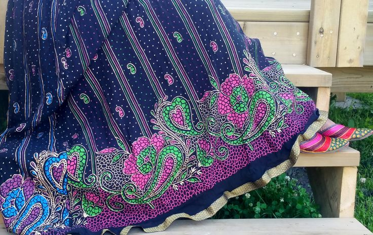 Exclusive Black Rayon  Bohemian Skirt with Green Pink Blue Mango Seed Motifs   Only @ US$ 23.72