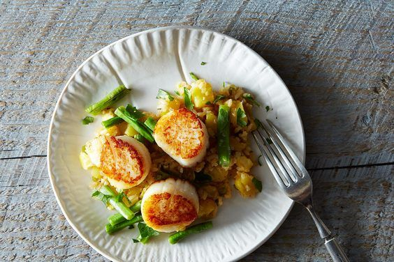 Dale Talde's Grilled Scallops with XO-Pineapple Fried Rice, a recipe on Food52