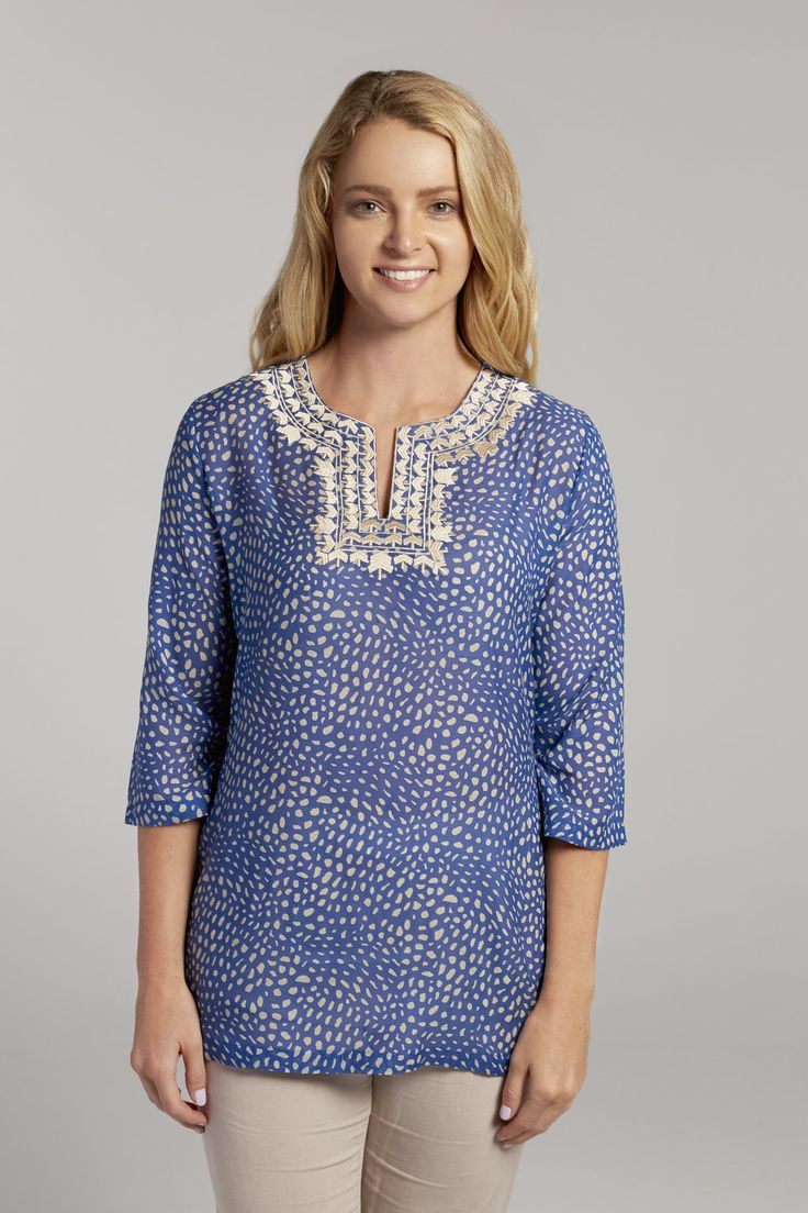 Razzmatazz Polka Tunics series is made from quality silk cotton blends  embroidered with an intricate geometric pattern. It has a bright abstract  print that ...