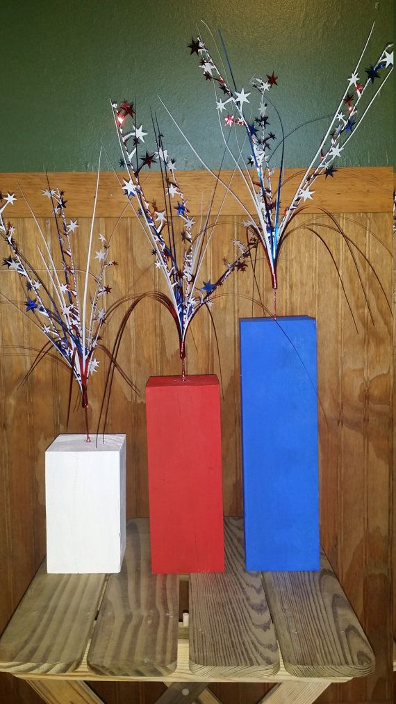 3 piece 4th of July Fireworks Stand. This 3 piece set is perfect for indoor or outdoor use for your 4th of July party or decor. the pieces are 6, 9,
