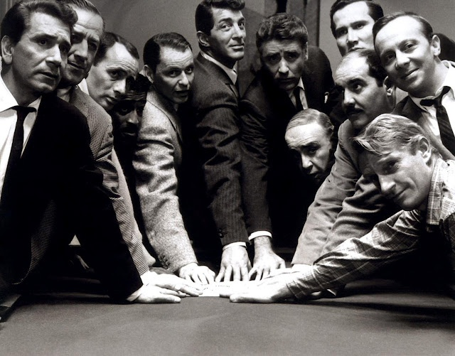 The Orginal Ocean's 11: Frank Sinatra, Dean Martin, Sammy Davis Jr., Peter Lawford, Richard Conte, Joey Bishop, Henry Silva, Buddy Lester, Richard Benedict, Norman Fell, and Clem Harvey