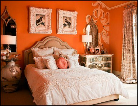 eclectic vintage bedroom ideas - Google Search,  white bedding with bold walls