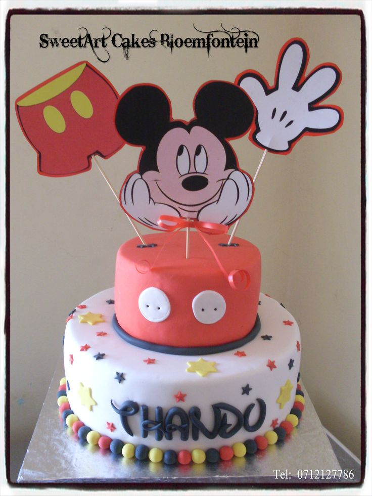 Mickey Mouse Cake Connect with me on Facebook.www.facebook.com/SweetArtCakesBfn/  For more info email SweetArtbfn@gmail.com or call 0712127786