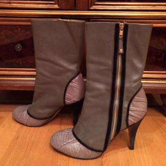 BCBG mid calf boots of mixed media Beautiful gray, leather,  mid calf boots. They have snake skin toe and heel accents, black velvet piping across toe and alongside zipper, & heels are velvet. Side zippers make for easy putting on and off. BCBGMaxAzria Shoes