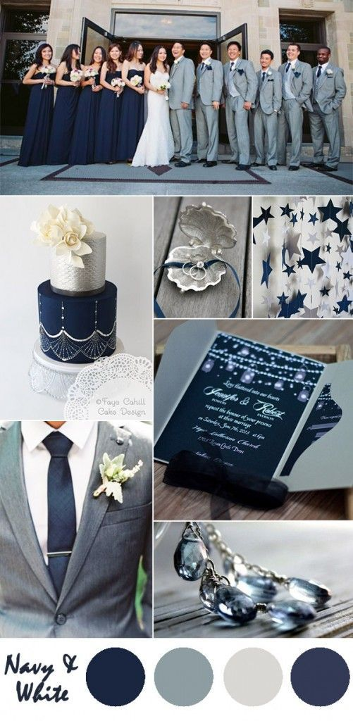 navy-blue-and-gray-wedding-color-ideas-and-pocket-wedding-invitations I love the cake