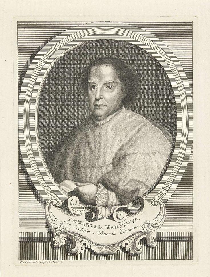 Philippus Endlich | Portret van Manuel Marti, Philippus Endlich, 1731 - 1748 | Portret van Manuel Marti (1663-1737) deken van Alicante, in bonten mantel, met document in de hand. Afgebeeld in ovale omlijsting met ornament.