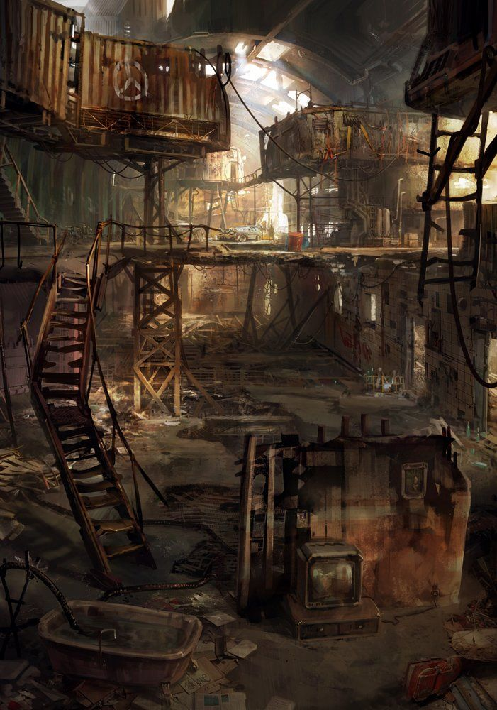 we don't ever really see the gangs' clubhouses, do we?  this might be where they hang out.  postapocalypse by jonone.deviantart.com on @deviantART