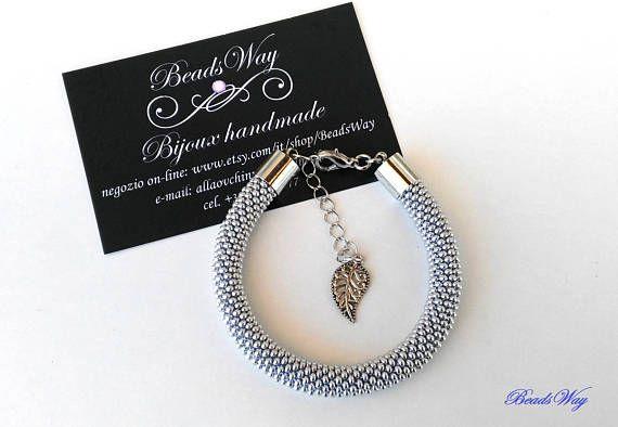 Bracelet Silver/Bracelet of beads/Bracelet grey/Bracciale