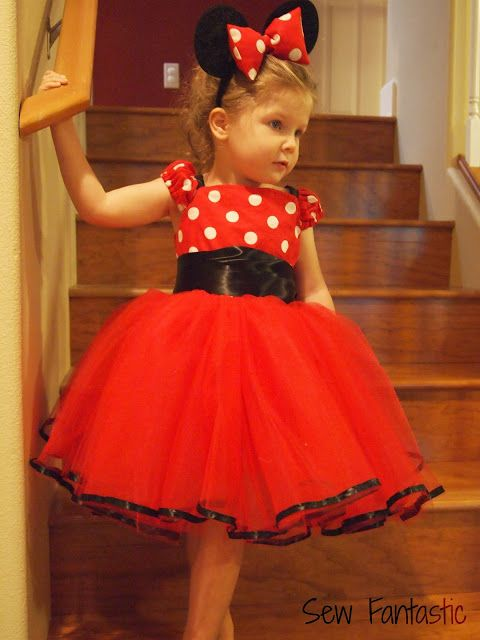 Idea: Minnie Mouse Costume - love the ribbon around the bottom . . . hmmm