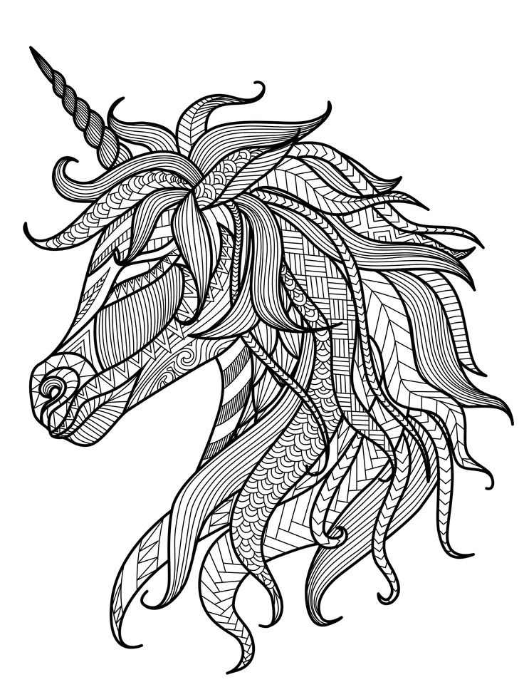 Unicorn adult coloring page - free downloadable