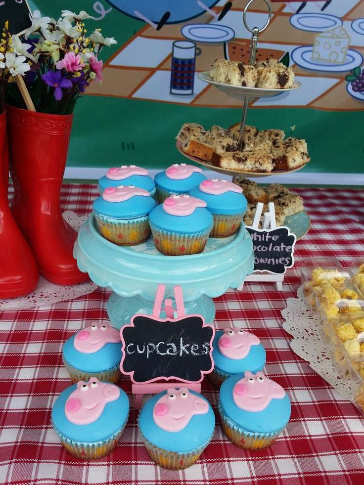 Pink cupcakes at a Peppa Pig birthday party! See more party planning ideas at CatchMyParty.com!