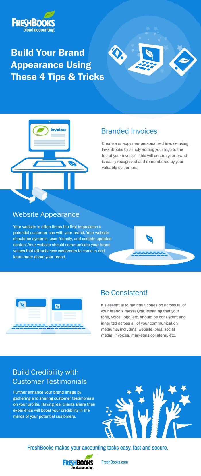 Build your brand appearance using these 4 tips and tricks (Infographic) #Infographic #FreshBooks #SmallBiz #Startups