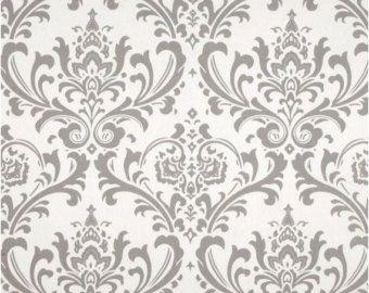1 yarda gris y blanco Damasco tela Premier por DuvetDarlingsSupply