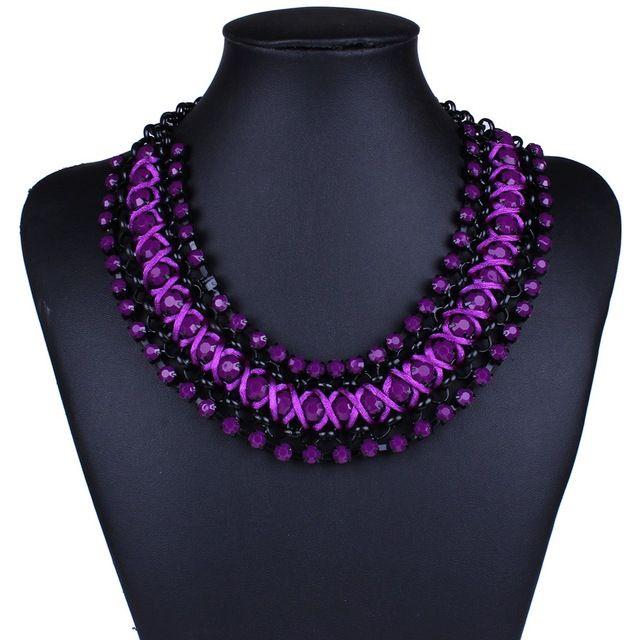 ожерелья на шею бижутерия женщиная Роскошь элегантность строки фиолетовый  бисера толстой ожерелье