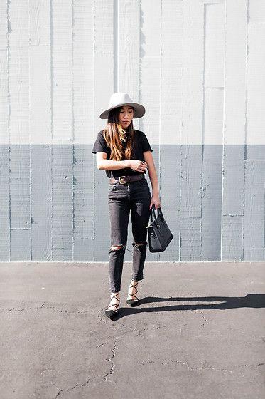 Tuyet - Rag & Bone Fedora, Zara Tshirt, Asos Jeans, Vintage Handbag, Zara Shoes - Black on black