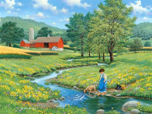 Cool Waters by John Sloane ~ summer ~ barn ~ stream ~ girl & dog