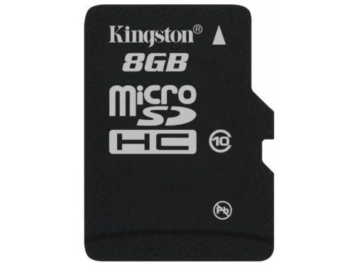 Kingston Technology Kingston microSDHC Card 8 GB Class 10 Single Pack Without Adaptor Height:1 mm, Depth:15 mm, Weight:1.4 g, Width:11 mm, Max Operating Temperature:85 °C, Min Operating Temperature:-25 °C, SD Speed Class:Class 10, Form Factor:microSDHC (Barcode EAN = 5054629244548). http://www.comparestoreprices.co.uk/december-2016-6/kingston-technology-kingston-microsdhc-card-8-gb-class-10-single-pack-without-adaptor.asp