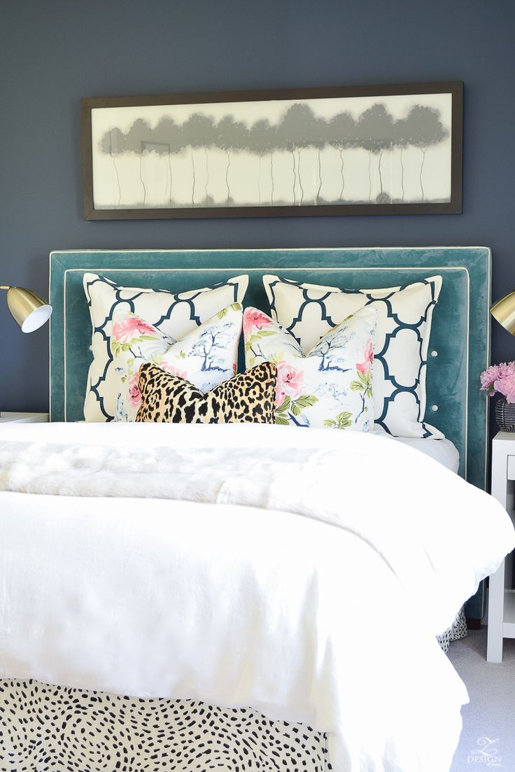 Design custom headbaord teal velvet headboard with white trim eastern charm floral pillow riad navy custom pillow blue geometric vase velvet headboards gentlemans gray navy paint-7