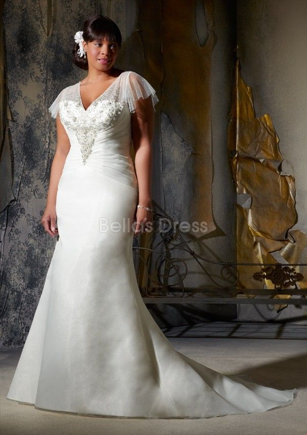 Graceful Dropped Waist V Neck Organza Sheath Column Floor Length Plus Size Wedding Dress