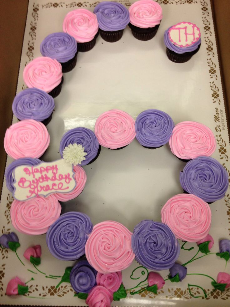 Pink and lavender rosette number 6 cupcake cake