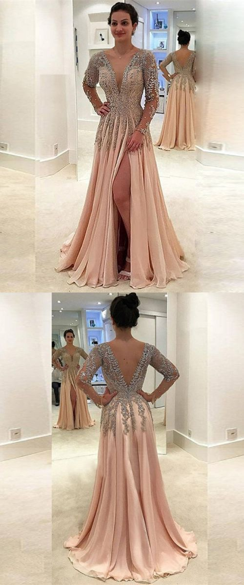 champagne v neck long prom dresses, elegant high slit prom dress with sleeves, long sleeves evening dress with beading