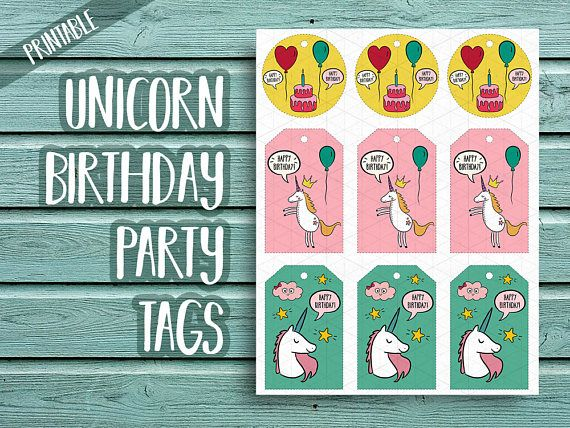 Unicorn Birthday Party Tags, Unicorn Birthday Tags, Unicorn Party Favor Tags, Unicorn Birthday Label, Unicorn Party Printables, Birthday Tag  Print your own birthday tags! 8,5 x 11 PNG, JPG and PDF files with 9 tags on a sheet. You will receive one sheet in 3 different file types (png, jpg, pdf).    ≈≈≈≈≈≈≈≈≈≈≈≈≈≈≈ WHAT YOU GET: ≈≈≈≈≈≈≈≈≈≈≈≈≈≈≈  • 9 tags per sheet in one zip file; • Dimensions: 8,5 x 11 (3300 x 2550 px) • All files will be inside of a zip file archive (so you need a winrar…